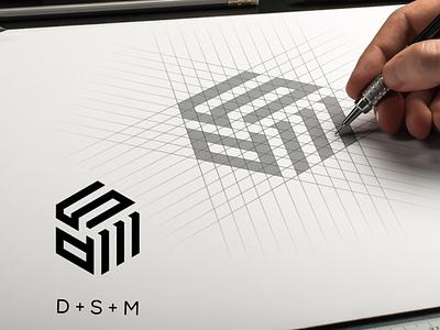 DSM abstract simple identity vector typography minimal flat logo design branding