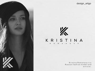 KRISTINA ROMANOVA logos vector lettering typography flat minimal design logo simple branding monogram k logo k monogram