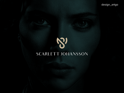 Scarlett Johansson, SJ lettermark vector lettering typography flat minimal design negative space logo negative space simple branding logo scarlett johansson sj lettermark