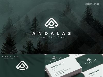 Andalas Plantations, AP logo monogram vector simple typography flat minimal design branding lettering lettermark logo ap