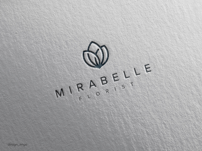Mirabelle Florist monogramlogo lettering simple typography flat minimal design flower logo branding logo mf