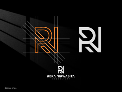 RN monogram vector ui illustration simple typography flat design minimal logo branding