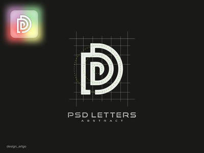 Psd abstract letters vector ui illustration simple typography flat design minimal logo abstract lettering branding