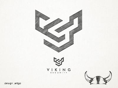VS sketch with shape of Viking Helmet vector ui illustration simple typography flat design minimal sketch monogram vikinglogo viking logo branding
