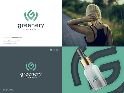 evergreen green leaf logo vector ui illustration simple typography flat design minimal logo branding