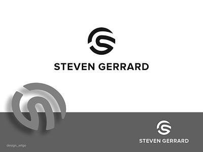 Steven Gerrard vector ui illustration simple typography flat design minimal logo branding