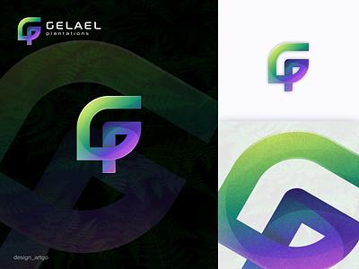Gelael Plantation vector ui illustration typography simple flat design minimal branding monogram logos logo leaf logo leaf g logo