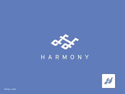 Harmony music logo best awesome monogram vector ui illustration typography simple flat design minimal branding logo