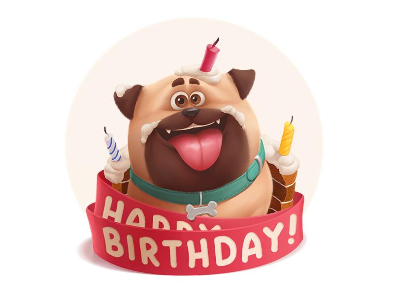 Gift Dog (for vk.com) kuryatnikov anton kuryatnikov yummy appetite congratulation tape candles cake love happy birthday day gift dog