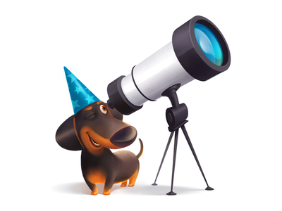Astrologer optics smile fun joy cap telescope space dachshund dog astrologer