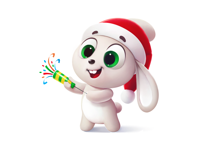 happy new year gift joy hat party poppers gifts sleigh holiday hare gift new year