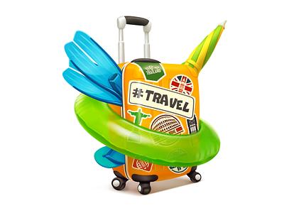 Travel Bag (gift for vk.com) kuryatnikov vacation weekend summer rest inflatable circle fins slippers umbrella