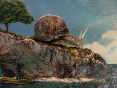 snail island graphicdesign graphic surrealism art island grafitti photoshop photoshop art photomanipulation image design snail