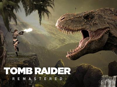 Tomb Raider Remastered photomanipulation guns photoshop art photoshop reboot retro videogame game t-rex dinosaur lara croft tomb raider image design