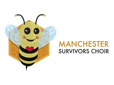 Manchester Survivors Choir Logo manchesterbee hearts love terrorism uk england branding bee design logo singing attack manchester arena brave music survivors choir manchester