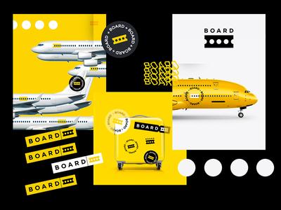 BOARD airplane airport luggage ticket branding design illustration logo