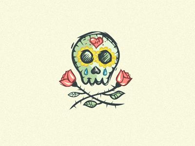 Maria's Breaks Love logo love skull rose drop cry break
