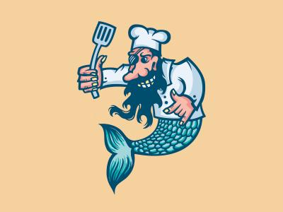 Buhta-Barahta eat food cook mermaid logo pirate