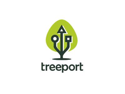 treeport logo tree usb port green fun sale unused
