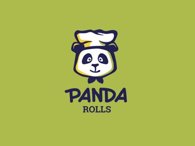 Panda rolls logo panda rolls