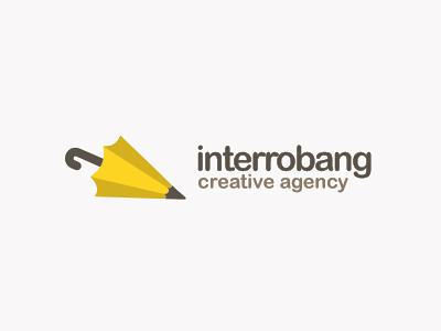 interrobang logo interrobang agency umbrella yellow pencil