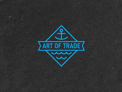 Art logo fish anchor waves sea trade
