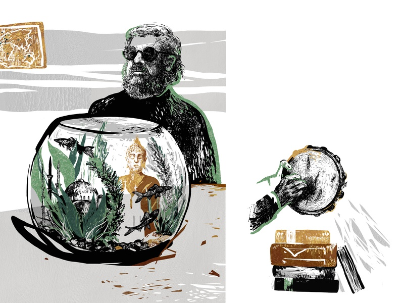 "Portrait illustration for ""Bolshoi"" magazine борис гребенщиков music pen art editorial illustration ink digital portrait detailed hand drawn illustration character"