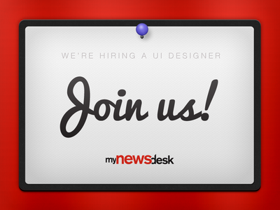 We're hiring a UI designer hiring ad jobs job hire ux ui mynewsdesk
