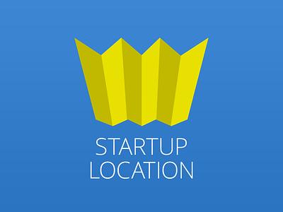 Startuplocation logotype startuplocation startup stockholm map blue yellow