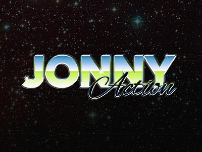 Jonny Action logotype portfolio website site 80 80is logo action colors space retro logotype movie