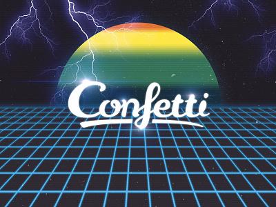 Confetti Logo ~ Kung Fury Edition tron grid 80s thunder laserunicorns signalnoise retro kung fury kungfury logo confetti