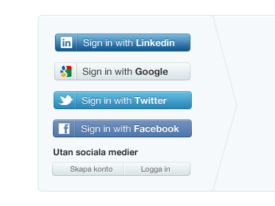 Sign in with social media linkedin facebook twitter google buttons social media sign in
