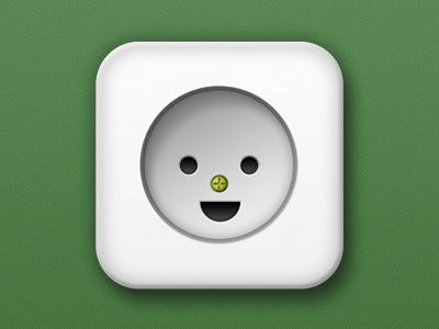 Happy Wall Socket outlet wall socket socket power point plug icon logo happy green point