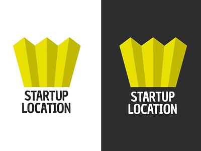 StartupLocation.com logotype logo startuplocation flat clean dark light map crown stockholm sweden startup logotype