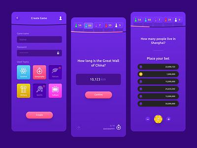 Guessing Trivia Game (iOS App) game ui betting purple game app game trivia
