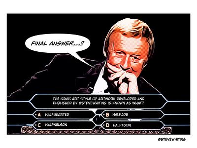 Chris millionaire tv quiz show comic art halftoon chris tarrant
