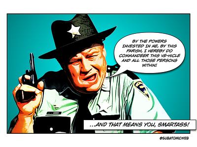 J W halftoon smartass boy pistol police county cop us commandeer vehicle live and let die jw pepper sheriff james bond