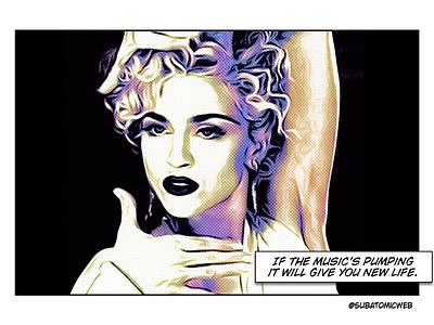 Madonna pop mucic pop star icon grace style dance 80s 1980s voguing vogue comic art pop art halftoon madonna