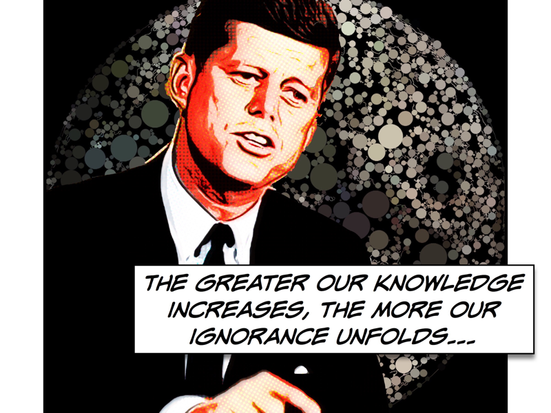 John halftoon comic ignorance knowledge president speech nasa moon jfk