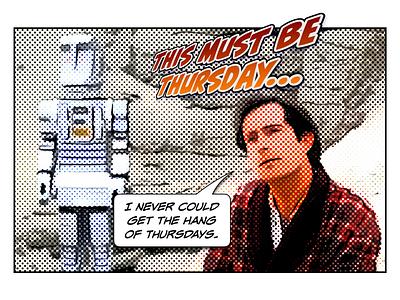 Arthur halftoon comic human galaxy thursday paranoid android marvin harmless arthur dent douglas adams hhgtg hitchhikers