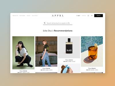 Platform design for Apprl uxdesign ux webdesign
