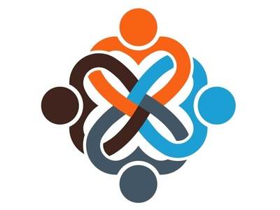 Teamwork logo Hearts connected - Four persons
