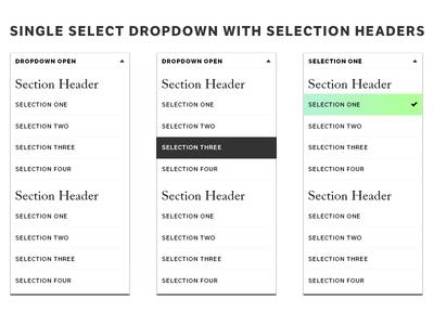 Single select dropdown