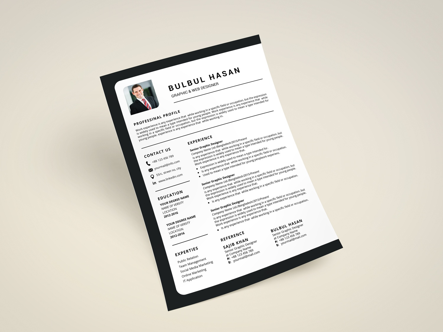 Resume design by Bulbul Hasan on Dribbble