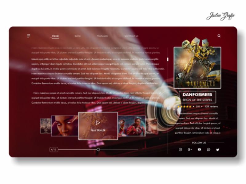 Movie Review (already scrolled) UI | Jaden Grafix | UI Design ui uxdesign webdesign ui ux uiux sketchapp adobexd ui ux uiux uxdesign uidesign
