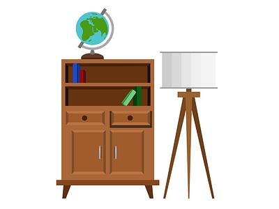 Furniture illustrator furniture minimal flat vector illustration design