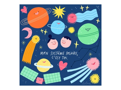 You're my solar system doodle drawing solar system stars planet artist art illustration