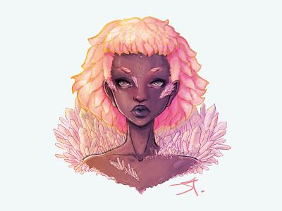 Amethyst pink pretty crystals digital painting art illustration woman