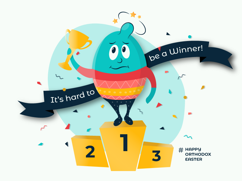 It's Hard to Be a Winner! number one egg fight egg knocking egg tapping vector design illustration ouch bump trophy cup fanfare orthodox easter egg easter