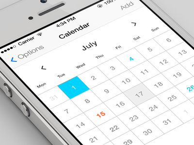 iOS7 Calendar ios7 calendar design ui